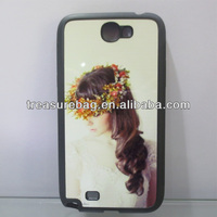 Blank sublimation TPU+PC phone case for samsung note2 with metal sheet