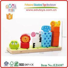 2015 nova madeira animal do bloco brinquedos popular animal brinquedos de empilhamento venda quente animais empilhamento
