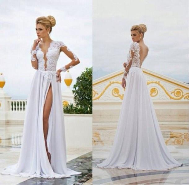 Фото свадебных платьев с разрезом