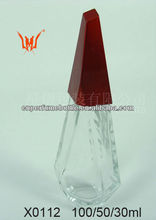 30ML Cut Glass Perfume Bottle With Red Colored Minaret cap Wholesale