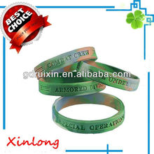swirl colors with debossed logos silicone bracelets/wristbands/armbands/handbands