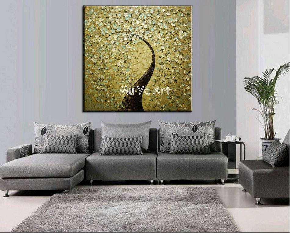 Buy Abstract modern wall art blossom picture Golden Knife paint peacock oil painting on canvas for living room wall decoration cheap