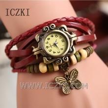 Q4106 New Women&Girls Retro Leather Bracelet Butterfly Decoration Quartz Wrist watchs