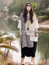 2014 mejor venta de estilo largo de fibra de algodón en bordado blusa costura media para las mujeres de edad avanzada