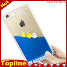 Lovely duck PC Materail 3D liquid duck liquid cell phone case for iphone 6