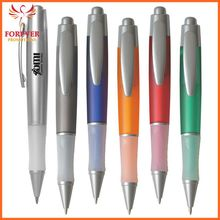 Wholesale Custom Fino Hot Selling Promotional Plunger Action Blue Ink Ballpoint Pen With Rubber Grip