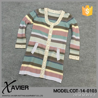 COT-14-0103 name brand designer sweater Rainbow color woolen sweater designs for ladies