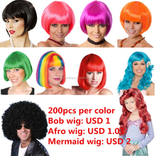 Halloween afro short bob synthetic party wig FGW-0014