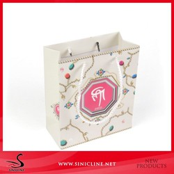 Custom made White Paper Bags for crafts with Logo Print with strings