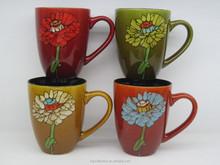 ceramic mug four color hand painted