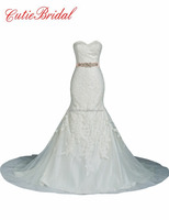 Real Photos Wedding Gowns Sweetheart Crystals Belt Mermaid Wedding Dresses