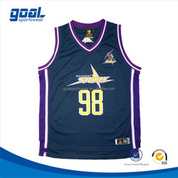 Wholesale summer new style team sublimated custom print basketball tops