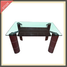 modern iron wooden dining table with high glass top design table set
