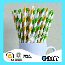 Colorful Striped Party Tableware Sets Paper Straws