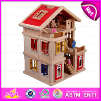 2015 New lovely kids wooden doll house in stock,Popular children wooden doll house toy,Hot sale wooden toy doll house W06A103