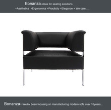 8009# 2015 Design Modern Stainless Steel frame lucky office furniture cheap single seater director sofa