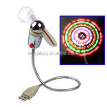 USB Mini Flexible Fan with LED Light and Switch, Fan Diameter: 90mm