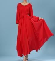 women summer autumn long sleeve dress casual chiffon ankle length dress