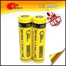 Hot IMREN 18650 40A battery,IMREN 18650 2000mAh 40A 3.7V high drain rechargeable battery PK VTC5 for provari mod,18650