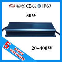 5 years warranty waterproof IP67 2.1A 50 watt 2100mA 20-24V 50W LED power supply