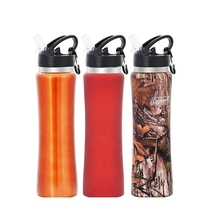 2015 hot products 750ml 27oz single wall stainless steel sports water bottle with straw sports water bottle carrier