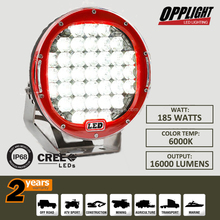 "Hot sale!!! 185w 4X4 led work light 12v round off road 9"" led driving lights with red housing"