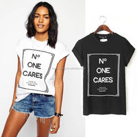 Newest letter print fashion wholesale woman t-shirt 2015