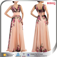 pink floral printed maxi dress prom dresses for muslim plus size women wear floral cotton women dresses
