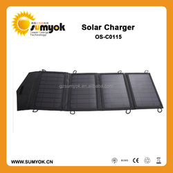 Hot sale 15W 16V&5V foldable solar panel charger made by waterproof PVC material