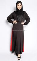 2016 simple style baju kurung cheap muslim dress beading abay with hijab
