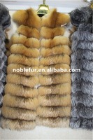 Natural Color Red Fox And Real Silver Fox Fur Long Vest For Ladies