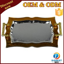 stainless steel gold plated mirror serving tray with handle for the Middle East T159