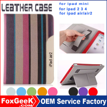 2015 New design PU leather protective cover case with handstrap and multi-stand function for iPad mini 7 inch tablet PC
