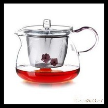 2015 New Design 2014 clear borosilicate galss teapot with filter and handle