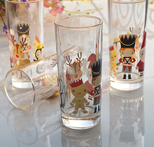 New product transparent 330ml Christmas milk glass, best seller glass cup for soft drinks, Santa Claus & Deer wine glass