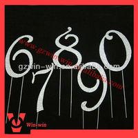 "4 3/4"" Frech script crystal rhinestone wedding cake topper number"