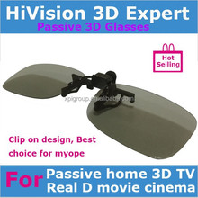 Clip on Passive Real D or MasterImage circular polarized 3d glasses for Myope