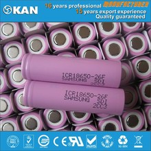 3.7v 2600mAh high quality samsung 18650 rechargeabe lithium battery