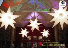 2015 hot selling good quality colorful 11-pointed inflatable hanging lighting event decoration spikey stars