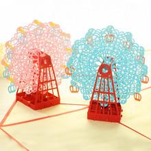 Creativo del corte del laser 3D noria papel silueta tarjetas