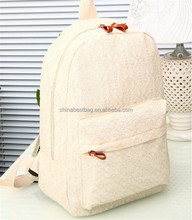 New design white rucksack stylish girls backpack cheap canvas backpack