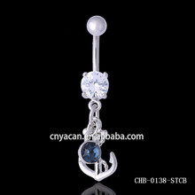 Brass ornaments indian Anchor dangle Dark blue CZ safety pin body jewelry