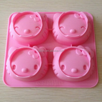 Cute non-stick 4cavity pig animal silicone cake chocalate moulds, silicone baking roasting bakeware moulds
