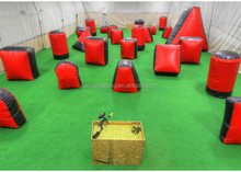 Outdoor Shooting Inflatable Sport Games , Red PVC Inflatable Paintball Guns