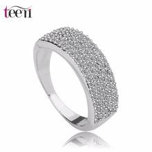 Oro verdadero Teemi joyería de lujo plateó el anillo de venta de moda de calidad superior AAA circón Mirco Pave Diamond esposa b