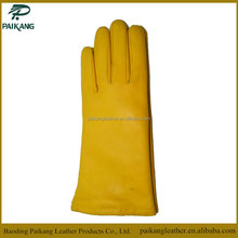 Winter style simple and classic yellow long ladies leather gloves