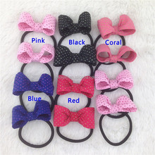 New dot cotton hair bow with black elastic hairband for baby chirldren bow ponytail holder for hair accessoirs