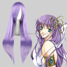 High Quality 80cm Long Straight Saint Seiya -Athena Light Purple Synthetic Anime Wig Cosplay Hair Wig Party Wig