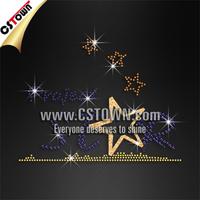 Project star bling jersey iron on rhinestone star motif