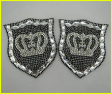 Custom Design Crown Crystal Rhinestone Applique Embroidery Badge